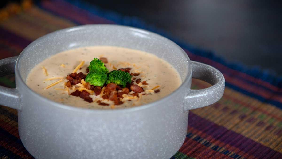 broccoli cheddar bacon soup in bowl