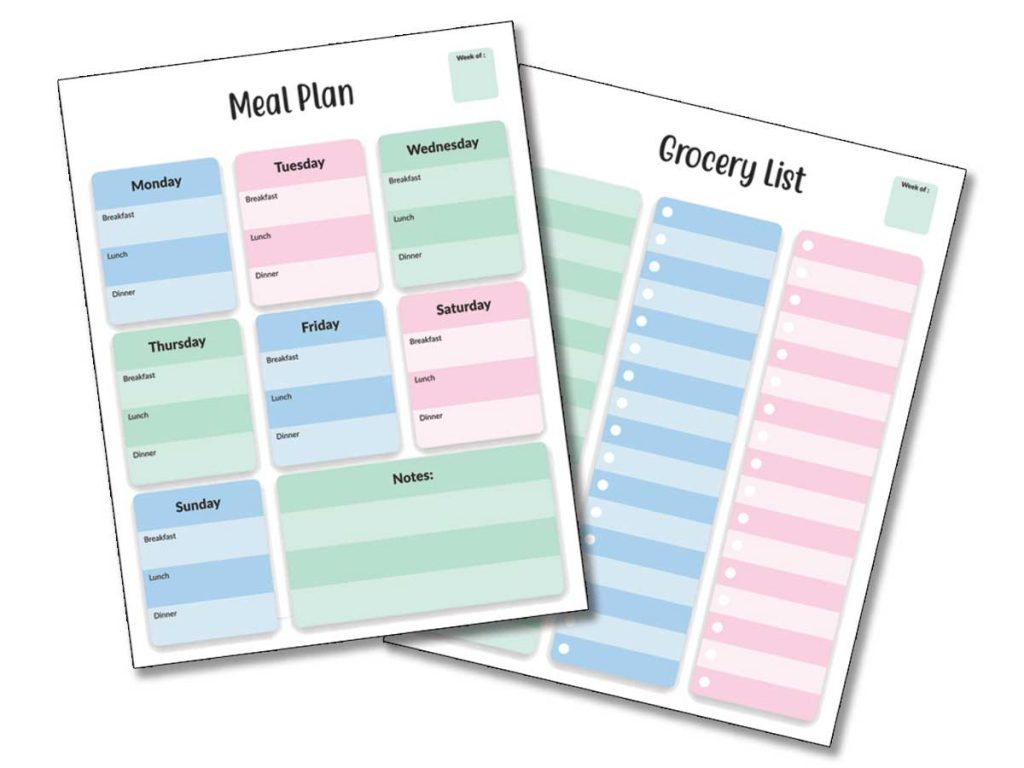 meal plan and grocery list previews