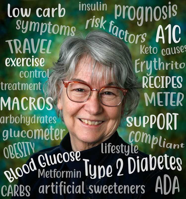 author portrait with diabetes word cloud