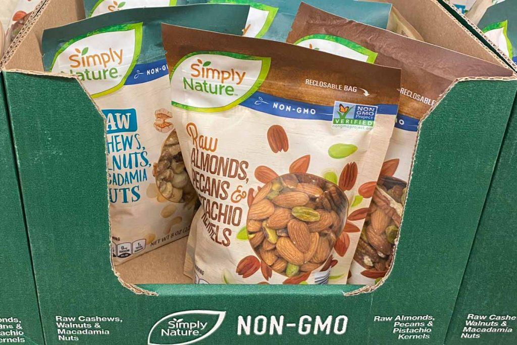 Aldi Simply Nature nuts on display in store