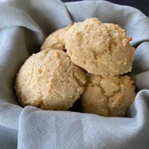 almond flour biscuits in bread basket