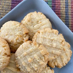 almond flour cookies on gray plate