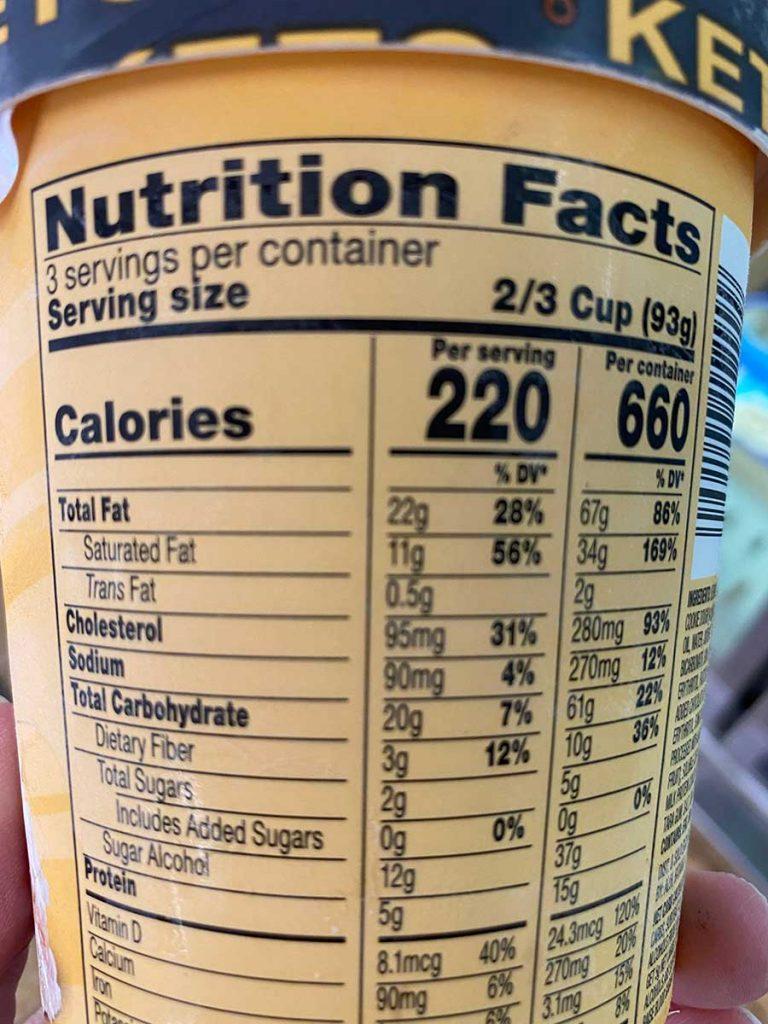 Keto ice cream nutritional label