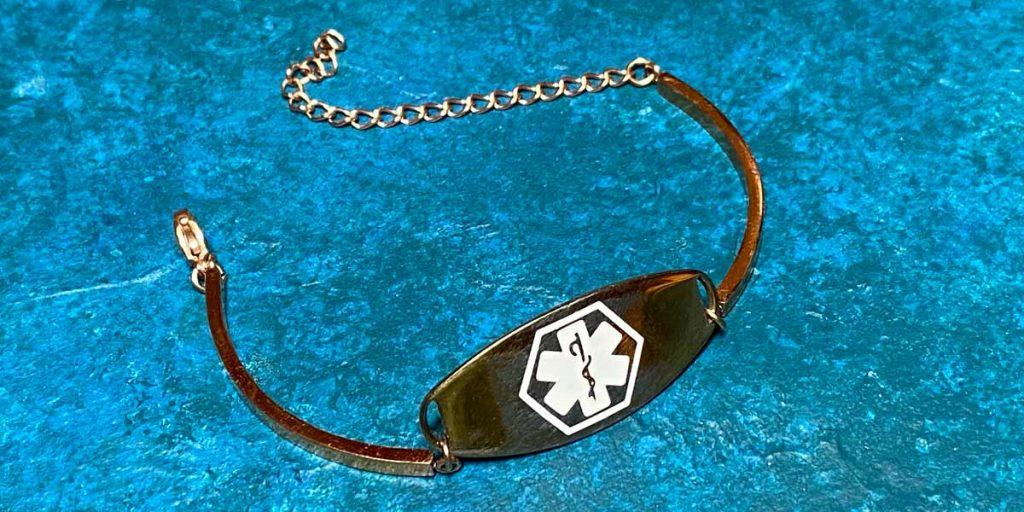 medical alert bracelet gold