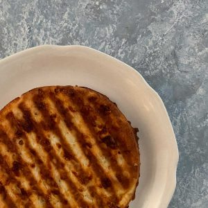 Single savory chaffle on plate