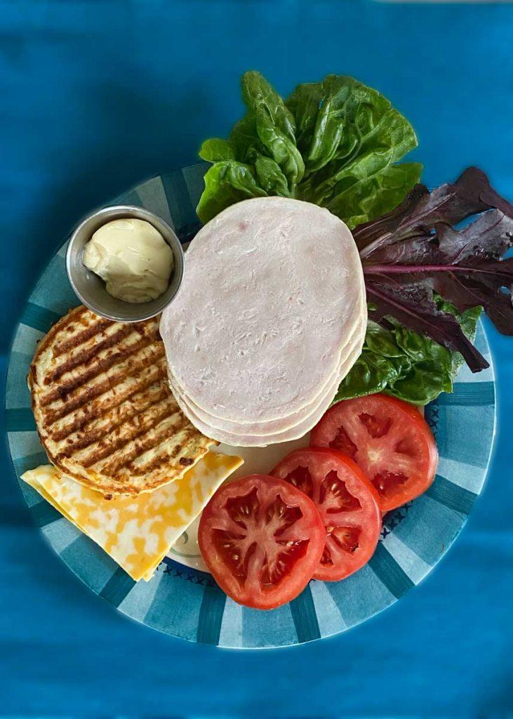 overhead chaffle sandwich ingredients