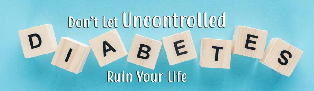 uncontrolled diabetes header spelled in blocks