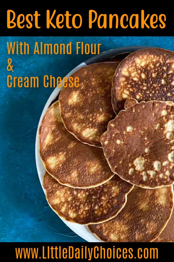 pin of keto almond flour pancakes