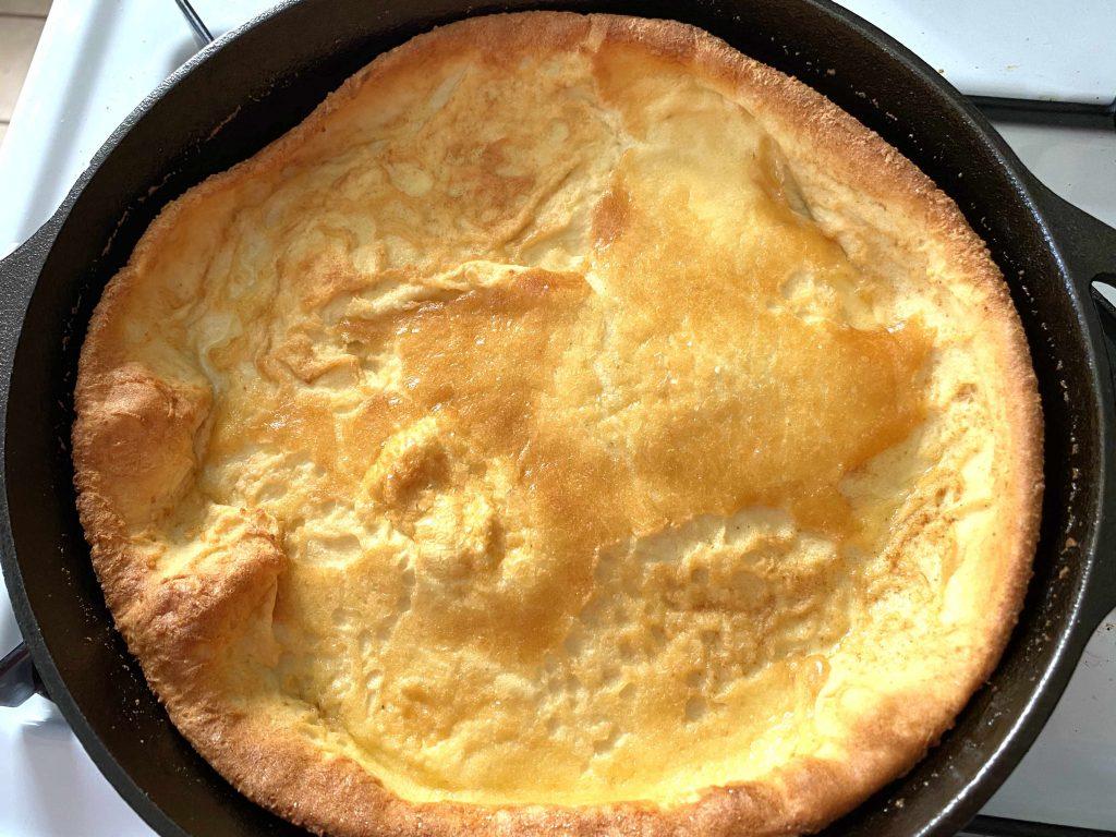 baked pancake in skillet