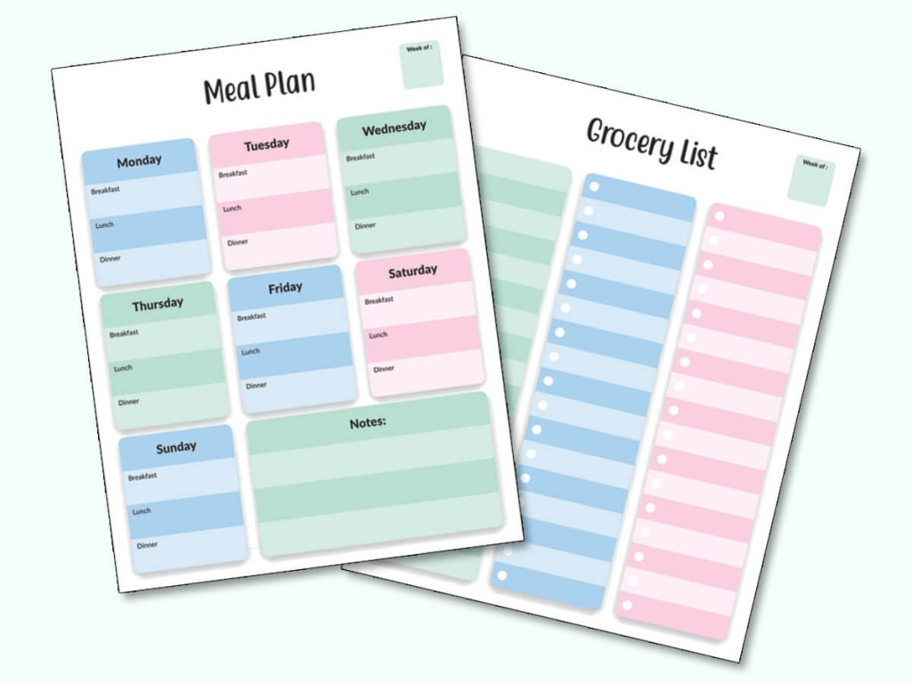 graphic of meal planning chart